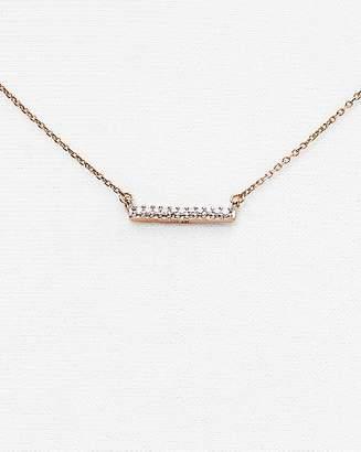 """Adina 14K Rose Gold Pavé Diamond Bar Necklace, 15"""""""