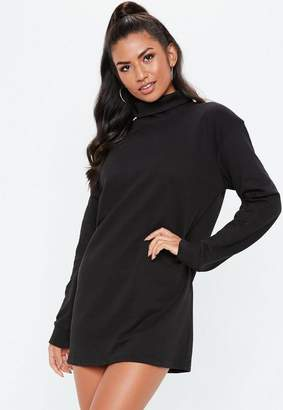 a616f95900f Missguided Black Oversized Roll Neck Sweater Dress