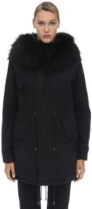 Mr & Mrs Italy Mr&Mrs Italy Midi Cotton Canvas Parka W/ Fur Detail