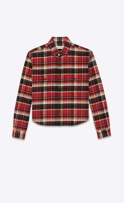 8f4ec68950df Saint Laurent Cropped Checked Shirt In Red And Black Flannel