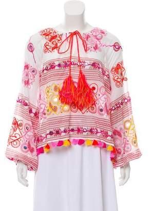Juliet Dunn Embellished Long Sleeve Top