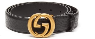 Gucci Gg Grained Leather Black Belt - Mens - Black