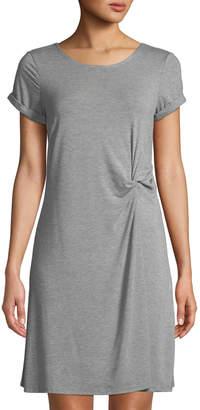 Neiman Marcus Knotted Crewneck T-Shirt Dress