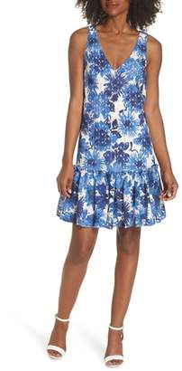 Trina Turk trina La Costa Print Ruffle Hem Lace Dress