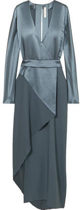 Dion Lee Wrap-effect Mulberry Silk-satin Midi Dress - Metallic