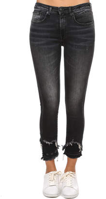 R 13 Jenny Mid Rise Skinny with Doubled Shredded Hem