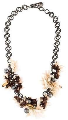 Lanvin Raffia, Faux Pearl & Crystal Necklace