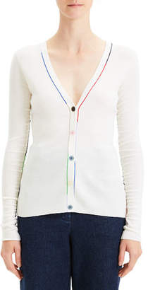Theory Embroidered V-Neck Wool Cardigan