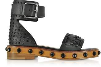 RED Valentino Black Studded Leather Flat Sandals