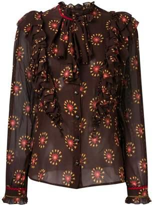 Etro heart print ruffle blouse