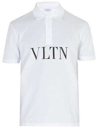 Valentino Logo Print Cotton Pique Polo Shirt - Mens - White