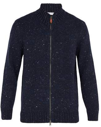 Inis Meáin - Donegal Zip Through Wool Blend Sweater - Mens - Navy