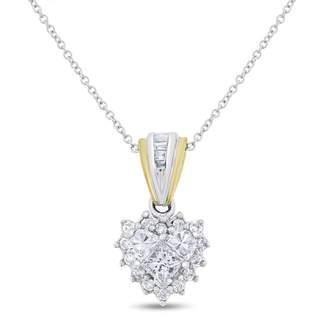14k Two Tone Gold 0.50 Ct. Natural Diamond Mini Heart, Heart Shaped Illusion Pendant