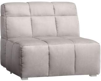 Pottery Barn Teen Baldwin Lounge Armless Chair, Light Gray Faux-Suede, QS EXEL