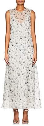 Calvin Klein WOMEN'S FLORAL SILK CHIFFON MAXI DRESS - BLUE - BLACK SIZE 0