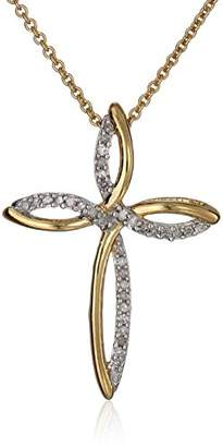18K Gold over Sterling Silver Diamond Cross Pendant Necklace (1/10 cttw)