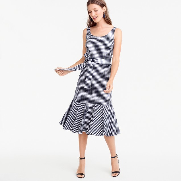 Gingham ruffle-hem dress