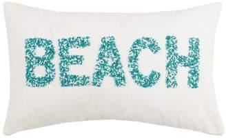 Peking Handicraft Beach Beaded Pillow - 12x20 - Blue/White