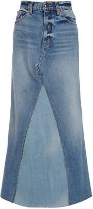 Khaite Magdelena Two-Tone Denim Maxi Skirt Size: 24