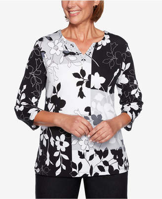 Alfred Dunner Petite Grand Boulevard Patchwork-Print Tunic