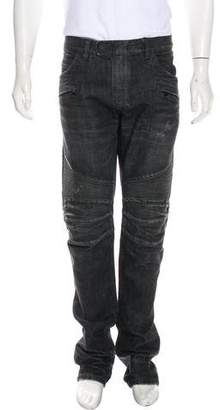 Balmain Distressed Moto Slim Jeans
