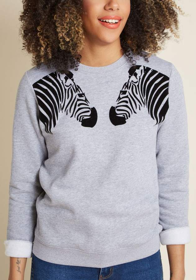 The Zeal Deal Zebra Sweatshirt in 14 (UK) - Long Waist by Sugarhill Brighton from ModCloth