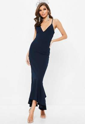 Missguided Navy Plunge Split Fishtail Maxi Dress
