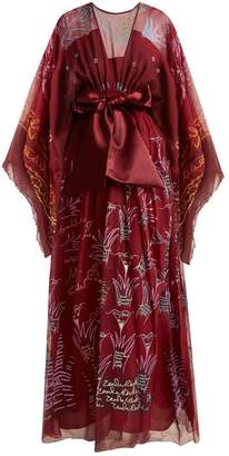 Zandra Rhodes Summer Collection The 1973 Field Of Lilies Gown - Womens - Burgundy Multi