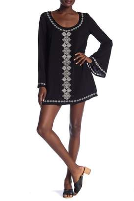 Love Stitch Bell Sleeve Embroidered Tunic Dress