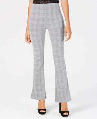 Almost Famous Juniors' Plaid Ponte-Knit Flare-Leg Pants