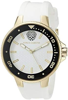 Vince Camuto Women's VC/5282GPWT Gold-Tone and White Silicone Strap Watch