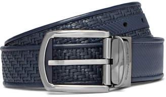 Ermenegildo Zegna 3.5cm Blue Reversible Pelle Tessuta Leather Belt