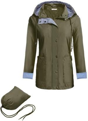 Meaneor Women Hooded Softshell Waterproof Jacket Army Green Camouflage M