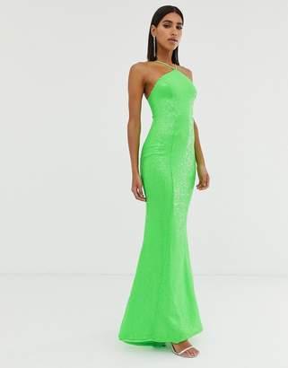 Goddiva backless sequin dress in lime