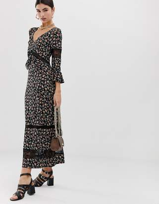 8a43715737f Asos Design DESIGN city maxi tea dress with lace inserts in ditsy print