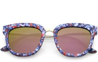 311ae36733 sunglass.la Marble Printed Horn Rimmed Sunglasses Metal Nose Bridge Colored  Mirror Square Flat Lens