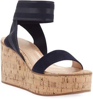 Gianvito Rossi Elastic Strap Cork Wedge Sandals