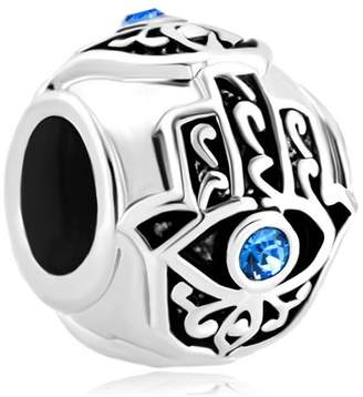 Pandora DemiJewelry Blue Evil Eye Charm Islamic Hand of Hamsa Beads fit Charms Bracelet