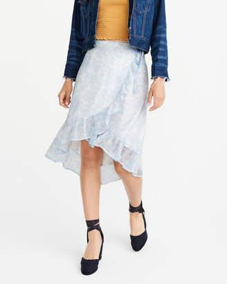 Abercrombie & Fitch Chiffon Wrap Midi Skirt