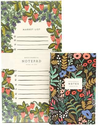 Rifle Paper Co. Tapestry Pocket Notepad and Strawberry Fields Market Pad 2-Piece Set