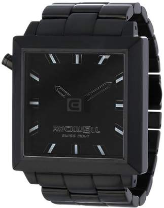 Rockwell Time Unisex FS104 50mm Squared Black-Plated Stainless Steel Case and Band Black Watch