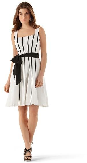 White House Black Market Grosgrain Stripe Faille Sundress