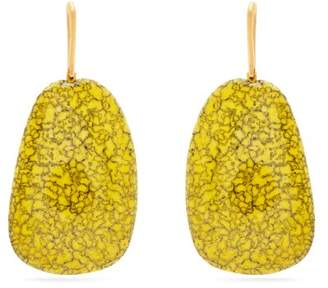 Com Isabel Marant Square Marbled Stone Drop Earrings Womens Yellow