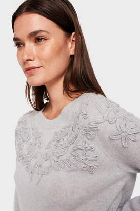 White + Warren Soutache Applique Crewneck