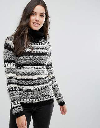 Brave Soul Osha Roll Neck Stripe Sweater
