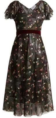 Luisa Beccaria Floral Embroidered Abstract Print Tulle Dress - Womens - Black Multi