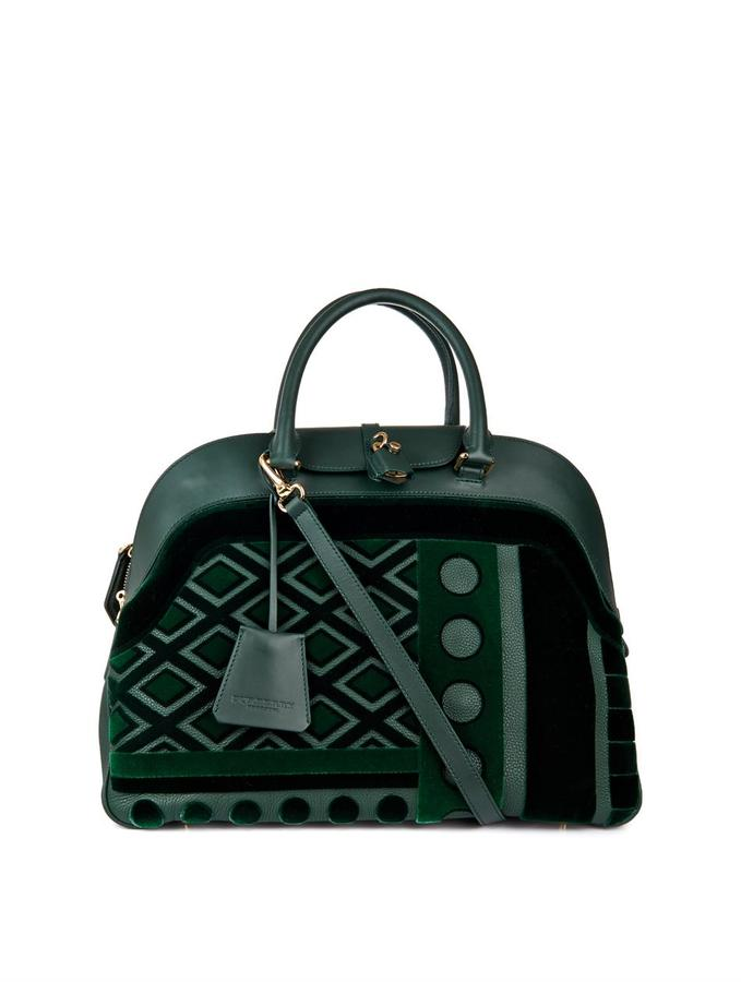 Burberry Velvet and leather bowling bag