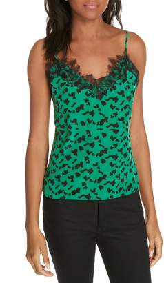 Tanya Taylor Gia Silhouette Spots Lace Detail Silk Camisole
