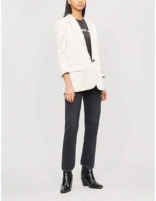 The Kooples Notch-lapel buttoned satin blazer