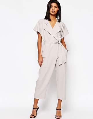 Asos Design Wrap Front Jumpsuit With Tie Waist